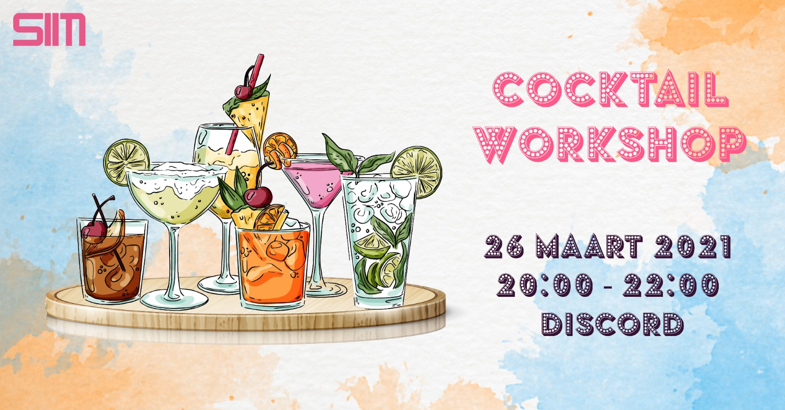 Zonnige cocktail workshop banner